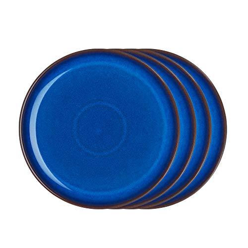 Denby IMP-003B/4 Imperial Blue Set of 4 Coupe Dinner Plates Teller-Set, Steingut, kobaltblau Denby Blue Plate