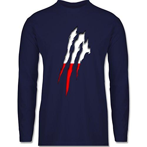 Länder - Polen Krallenspuren - Longsleeve / langärmeliges T-Shirt für Herren Navy Blau