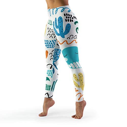 shaoziyun Shaping Leggings da Donna Cartoon Marine Organism Fitnes High Waist Caviglia Lunga Opaca Tights Pantaloni Yoga Bianco XXL