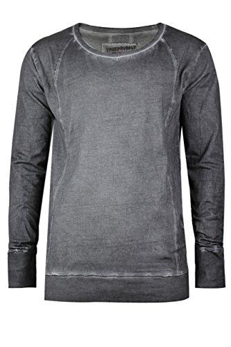 trueprodigy Casual Herren Marken Long Sleeve einfarbig Basic, Oberteil cool und stylisch mit Rundhals (Langarm & Slim Fit), Langarmshirt für Männer in Farbe: Grau 1073145-0403 Anthracite