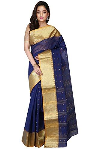 Madhushree Handloom Cotton Tant Saree, Traditional Bengali Wear (Blue)