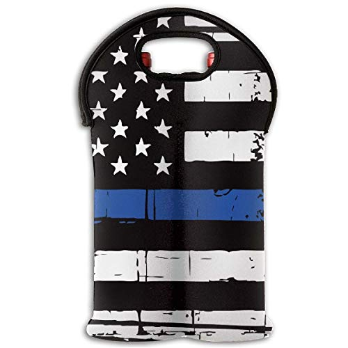 8161b7079a783 Distressed Thin Blue Line American Flag Two Bottle Wine Carrier Tote Bag  Neoprene Wine Water