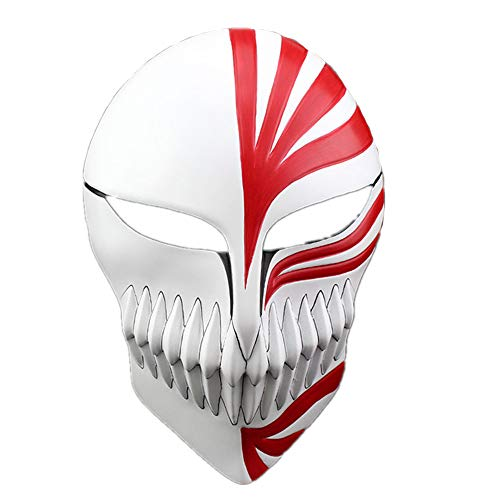 (K-Y YK Halloween Masquerade Anime Death Bleach Resin Mask Kurosaki Cosplay Mask Decoration Gift (Red))
