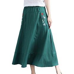 Jitong Retro Swing Vestidos Florales con Bolsillo para Mujer Cintura Elástica Étnico Falda de Lino para Verano (Verde, Asia M)