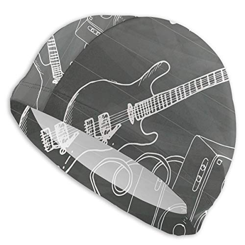 GUUi Swimming Cap Elastic Swimming Hat Diving Caps,Love The Rock Music Themed Sketch Art Sound Box and Text On Chalkboard,for Men Women Youths - Butterfly Music Box
