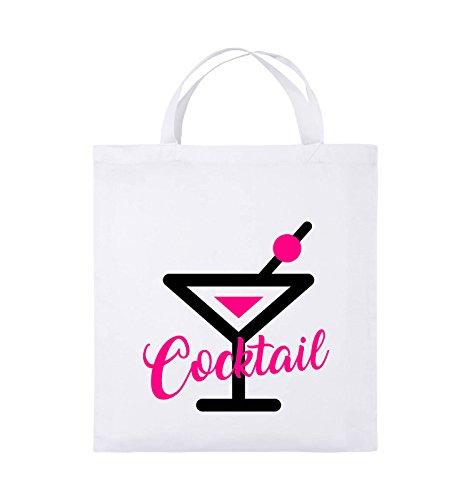 Comedy Bags - Cocktail - GLAS - Jutebeutel - kurze Henkel - 38x42cm - Farbe: Schwarz / Weiss-Neongrün Weiss / Schwarz-Pink