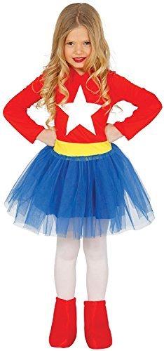 MÄDCHEN Superheld rot weiß blau gelb Tutu Kleid Kostüm Kleid Outfit Welttag des Buches 3-12 Jahre - Blau, 3-4 (Tutu Kostüme Mädchen Superheld)