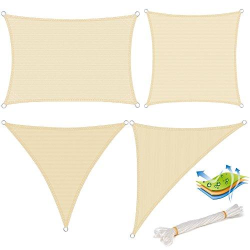 Woltu gzs1188cm08 tenda a vela parasole quadrato ombreggiante telo da sole in hdpe protezione solare respirante anti uv patio giardino esterni beige 5x5m
