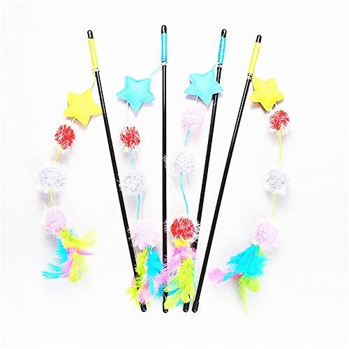 (Zhou Yunshan Glücklich Katzenspielzeug Farbe Candy Serie Pompons Lustige Katze Stick Pet Interaktives Spielzeug 4 Packs.)
