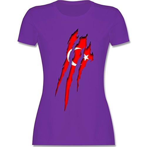 Länder - Türkei Krallenspuren - tailliertes Premium T-Shirt mit Rundhalsausschnitt für Damen Lila