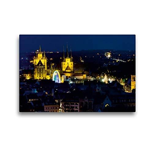 Calvendo Premium Textil-Leinwand 45 cm x 30 cm Quer, Erfurt - Mariendom und Severikirche | Wandbild, Bild auf Keilrahmen, Fertigbild auf Echter Leinwand. berühmten Weihnachtsmarkts Orte Orte