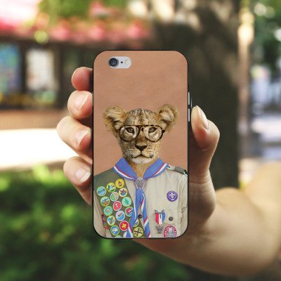 Apple iPhone 6 Housse Étui Silicone Coque Protection Lion Hipster Lion Housse en silicone noir / blanc