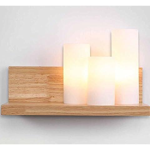 SBWYLT-Caliente minimalista lámpara de noche lámparas de pared de dormitorio creativo luces de pasillo de escaleras moderna lámpara de pared de madera