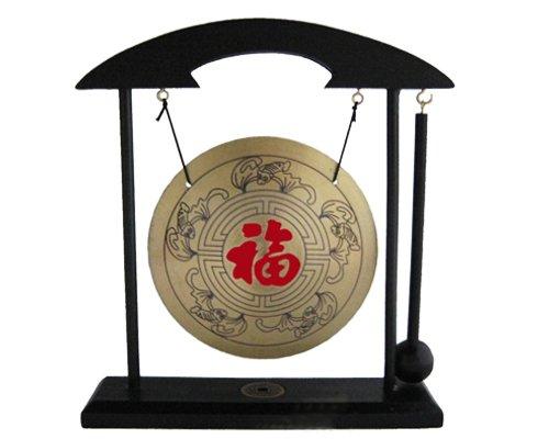 Tisch-Gong Holzständer Fengshui incl.Schlegel viele Motive (Glück Zeichen)