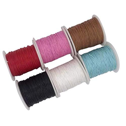 B Baosity 6 Rollos de Cordón Encerado de Rebordear Cuerda Trenzada de Algodón Natural Suministro de Artesanía Bricolaje - #1