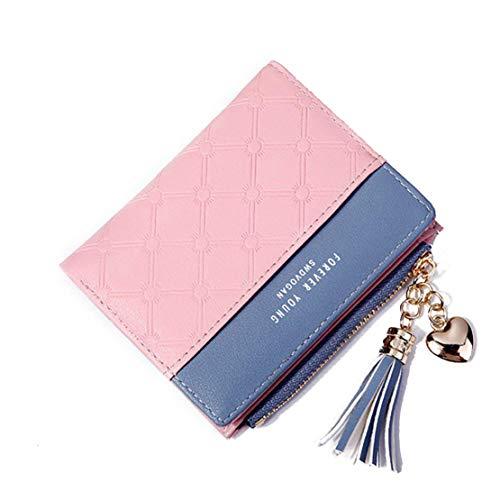 JQXB Brieftaschen Für Frauen, Mode PU Leder Kurze Brieftasche, Damen Multi Card Halter Organizer Tragbare Reißverschluss Clutch Taschen Geldbörse,Pink -