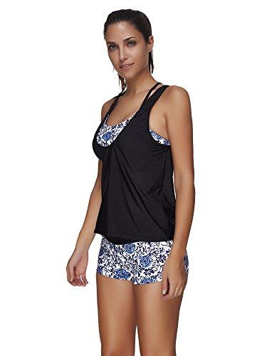 COCO clothing Damen 3 Stück Blumenmuster Spa Tankini Badeanzug Frauen Racerback Bademode Strand Sport Swimwear Bikini Set Blau und Weiß