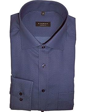 ETERNA Comfort Fit Hemd super langer Arm Struktur dunkelblau AL 72