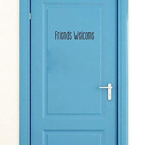 Lustige Freunde Willkommen zu Hause Tür Kunst Aufkleber und Wandaufkleber schwarz Zubehör 25 * 5,4 cm (Willkommen Baby Mädchen Hause Dekorationen Zu)
