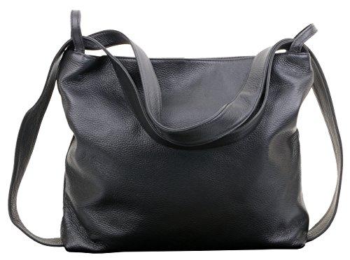 Leder Multi-tasche Rucksack (Primo Sacchi® Ladies Italian Black Textured Leather Pack Schultertasche Tasche Rucksack Rucksac. Incudes Branded Protective Storage Bag)