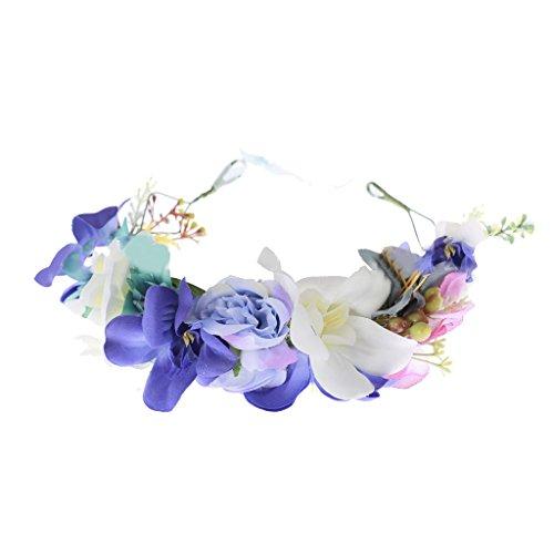 Prettyia Mode Haarkranz Blumen Damen Mädchen Hochzeit Kommunion Blumenhaarkranz - Blau, 18 cm