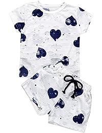 Ensembles Shorts et Haut Fille, Bonjouree T-Shirt Court à Manches + Shorts Pour Filles 1-6 Ans