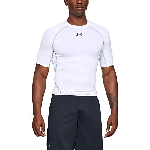 Under Armour Herren UA HG SS T-Shirt UA HG ARMOUR SS, Weiß (White), L -