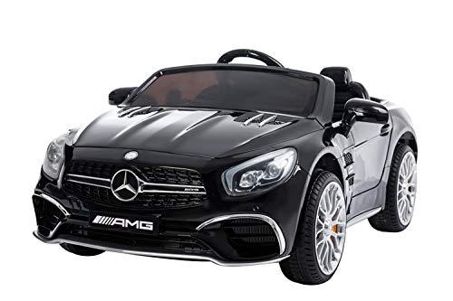 Véhicule à Batterie Mercedes SL 65 AMG, Voiture électrique pour Enfant, véhicule électrique, pour Filles et garçons, éclairage LED, Prise MP3, télécommande, Jouet sous Licence Mercedes (Black)