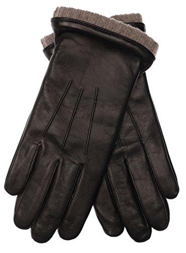 EEM Herren Leder Handschuhe BJOERN aus Lammnappaleder mit Strickstulpe und Fleecefutter, warm, modisch, sportlich, schwarz beige L