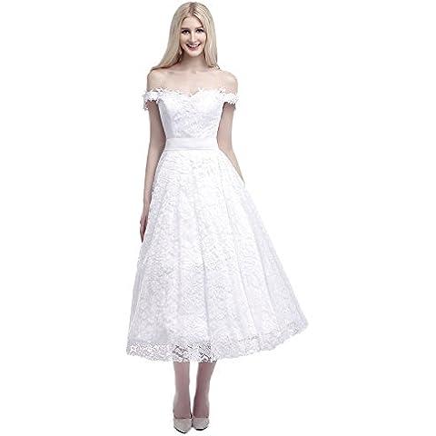 Engerla Mujer apagado hombro sobre longitud de té, bodas y fiestas vestido de encaje con lazo