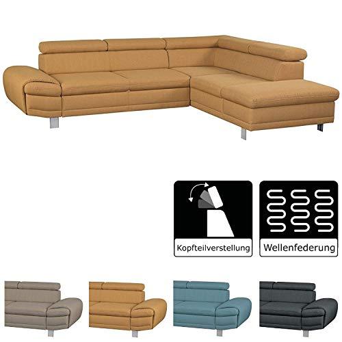 Cavadore Ecksofa Marool mit Kopfteilverstellung / Großes Sofa im modernen Design / Maße: 283 x 79 x 229 cm (BxHxT) / Farbe: Gelb -