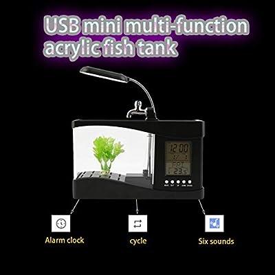 ifeng Neue USB Desktop Mini Aquarium Aquarium LCD Timer Clock LED Lampe Licht schwarz Worldwide Store - schwarz