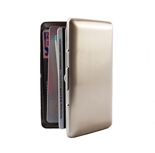 MAXBOX Kreditkartenetui Edelstahl gebürstet, RFID Blocker Kartenetui, EC Karten Etui, dünnes Kreditkarten Etui für sichere Aufbewahrung