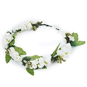 SODIAL (R) Fascia capelli di fiore ghirlanda fiore da donna sposa con fiore bianco - bianco e verde