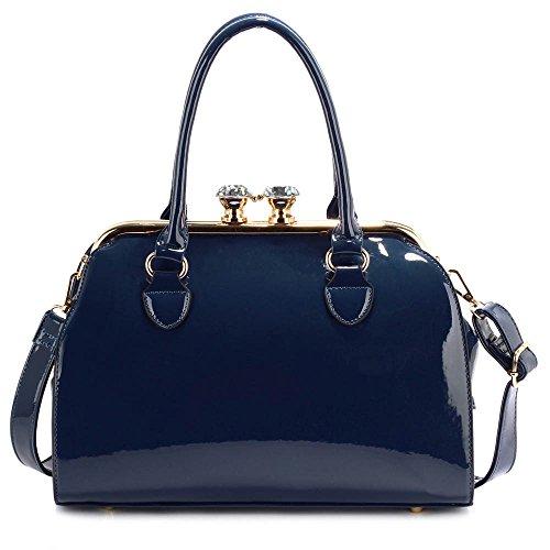 Trendstar Damen Handtaschen Der Frauen Entwerfer Sackt Berühmtheit Kunstleder Patent-Einkaufstasche, Marine,