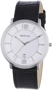 Bering Classic - Reloj analógico de caballero de cuarzo con correa de piel negra - sumergible a 50 metros de BERING