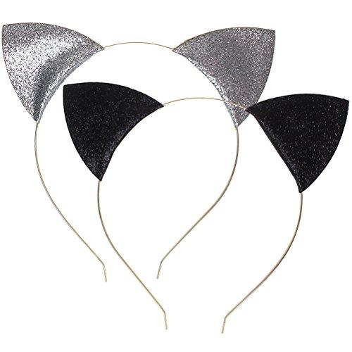 Ofoen Haarreif mit Katzenohren, mit Glitter, für Partys und Alltag, 2 Stück, Schwarz/silberfarben