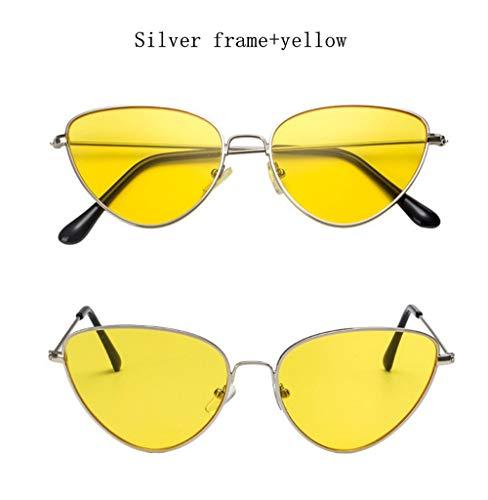 Wang-RX Frauen Sonnenbrille Getönte Farblinse Vintage Shaped Sun Glasses Männer Frauen Eyewear Luxe Red Female Sonnenbrille Uv400