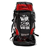 Mufubu Presents Get Unbarred 55 LTR Rucksack for Trekking, Hiking with Shoe Compartment (Black/Red)