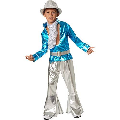 dressforfun 900497 - Jungenkostüm Disco Boy, Schillerndes Disco-Outfit aus Glanzstoff (128 | Nr. 302377)