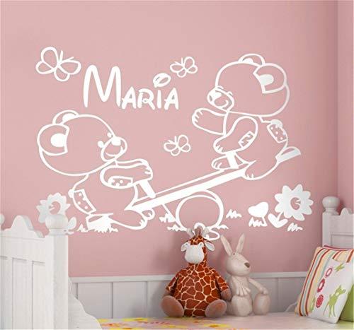 Pegatinas decorativas pared Nursery tatuajes de pared personalizados osos de peluche en balancín etiqueta...