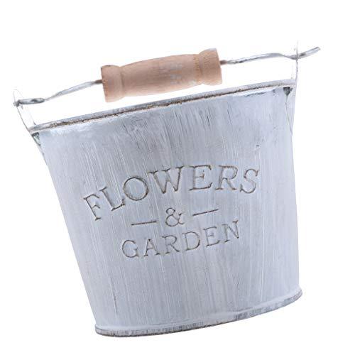 Vintage Metall Blumenvase Vase Shabby Chic Stil Eimer Design Deko Pflanztopf für Hochzeit Haus - 10x 8cm