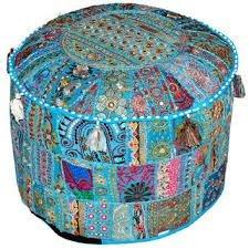 Tradizionale india indian living room pouf, poggiapiedi, rotondo pouf ottomano 33x 45,7cm by n