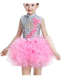 EOZY-Vestito Bambina Abito Paillettes Costume per Ballo Danza Vestito Tutu a222b8fd9c8
