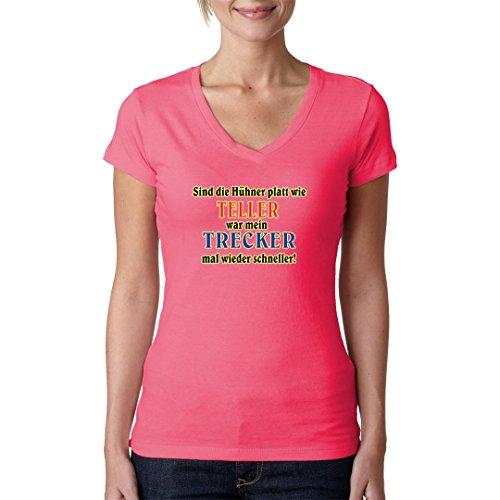 Fun Sprüche Girlie V-Neck Shirt - Hühner platt wie Teller by Im-Shirt Light-Pink