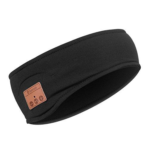 Urcover Bluetooth Stirnband mit Stereo Lautsprechern, Unisex Musik Beanie Strick-Mütze Schwarz [ Integrierter Akku (5h Laufzeit) & Freisprech-Funktion ]