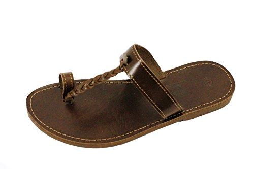 Damen und Herren Echt Leder Sandale Sandalette mit Zehen Riemen Braun Schwarz Beige 36- 47 Braun