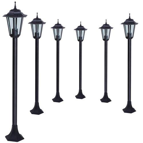 Jago 6er-Set Gartenleuchte Außenleuchte Garten Leuchte Laterne Gartenlampe Wegeleuchte Energieeffizienzklasse A++ bis E aus Eisen im schwarzen Antik-Look