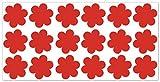 wandfabrik - Fahrradaufkleber 18 Blumen in hellrot - Wandtattoo geeignet als Dekoration Klebefolie Wandbild Wanddeko Tiere für Wohnzimmer Kinderzimmer Babyzimmer Badezimmer Fliesen Tapete Küche Flur Wohnung und Schlafzimmer für Junge Mädchen Baby Kinder Wandtattoos