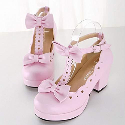 PINGXIANNV Lolita Schuhe Frauen Schuhe Koreanische Sommer Stil Neue Niedliche Damen Schuhe Kawaii Bogen Liebe Prinzessin Cosplay Schuhe Frau - Liebe Damen Kleidung